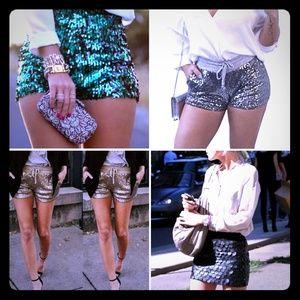 H&M Gold Sequin Shorts